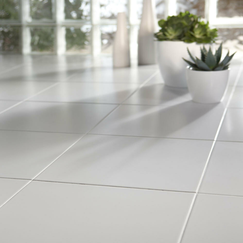 Cheap white ceramic floor tiles 333x333x7mm 5 10 sqm ebay for Which floor or what floor