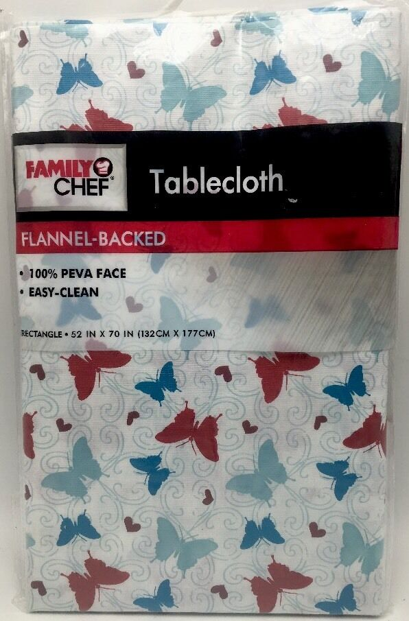 Tablecloth Colorfull Butterflies Vinyl Flannel Backed