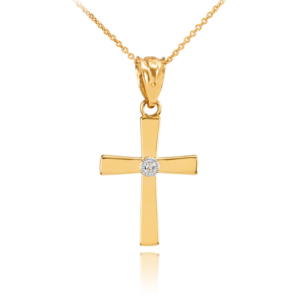 Polished fine yellow gold center diamond cross charm for Fine jewelry diamond pendants
