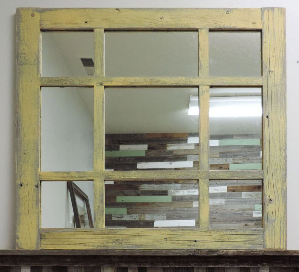 Rustic Reclaimed Barn Wood 9 Pane Cottage Window Mirror
