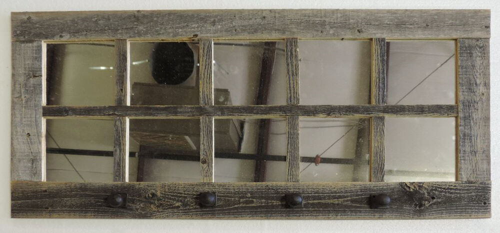 Reclaimed Barn Wood 10 Pane Entryway Coat Rack Window