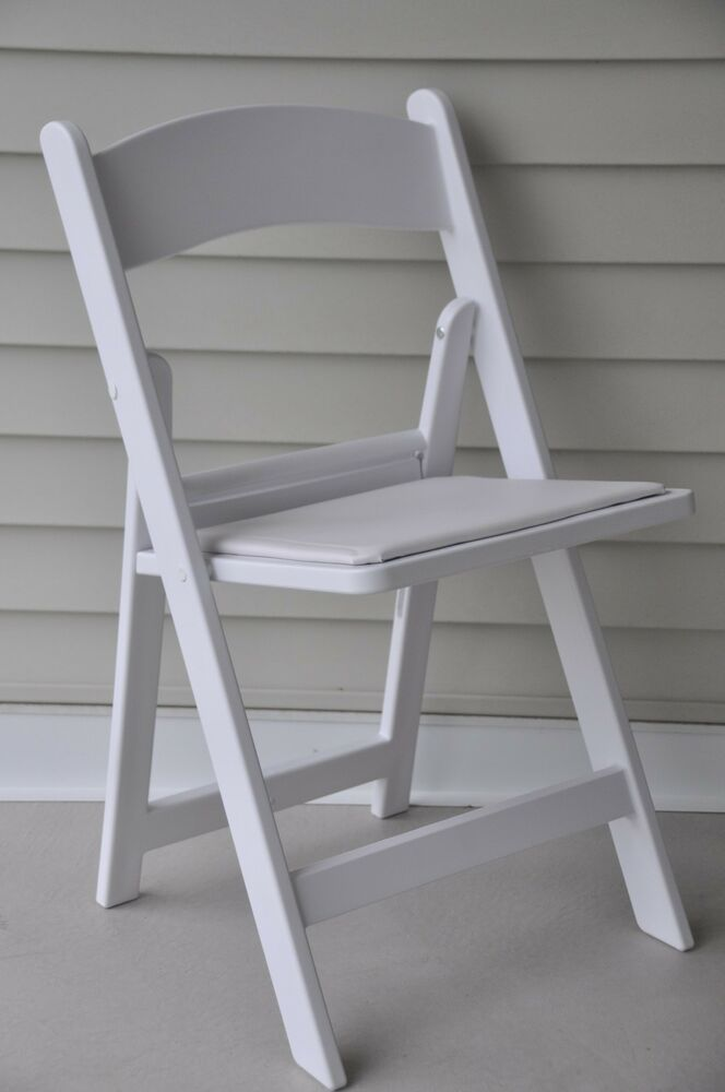 144 Folding Chairs White Resin Stacking Country Club Party Event Catering Cha