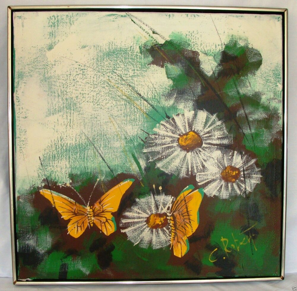 C Roberts Oil Or Acrylic Painting Daisies Butterflies Ebay