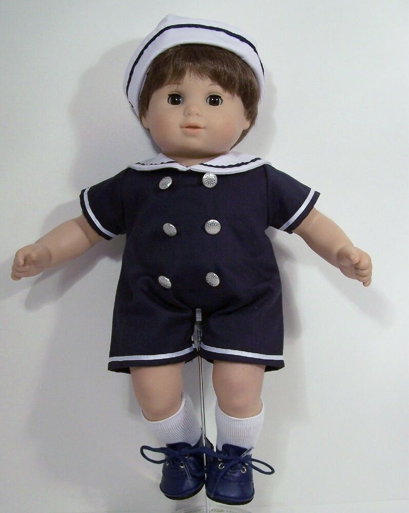 Navy Blue Sailor Romper Suit W Hat Doll Clothes For Bitty Baby Boy Twin Debs Ebay