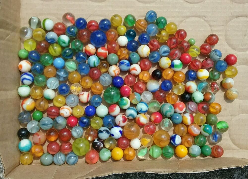 Vintage Antique Lot Of Glass Marbles Toy Game Swirl 198