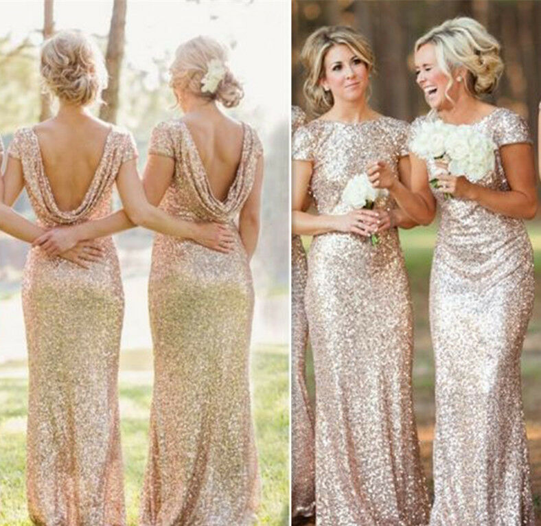 Uk New Wedding Bridesmaid Evening Sequin Rose Gold Prom