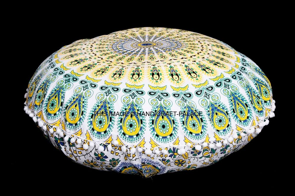 Large Round Floor Pillows : Large Mandala Floor Pillows Round Bohemian Meditation Cushion Cover Ottoman Pouf eBay