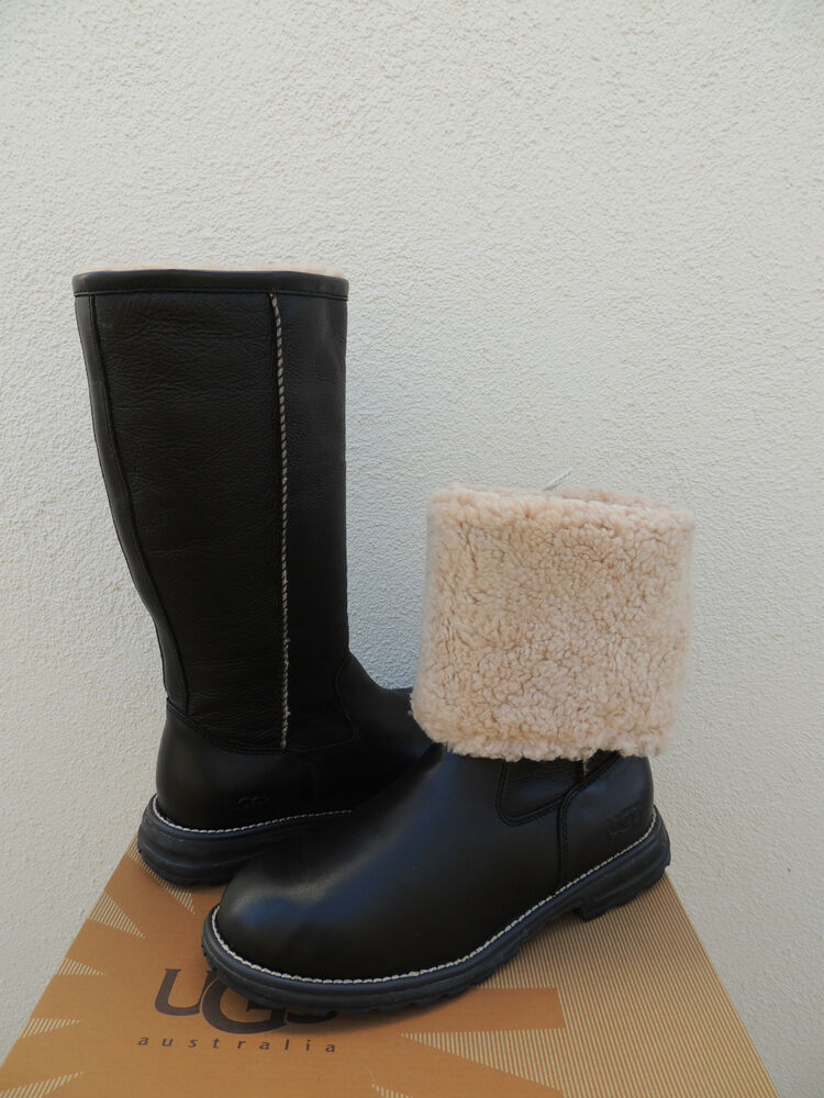 Ugg Brooks Tall Black Leather Fully Shearling Lined