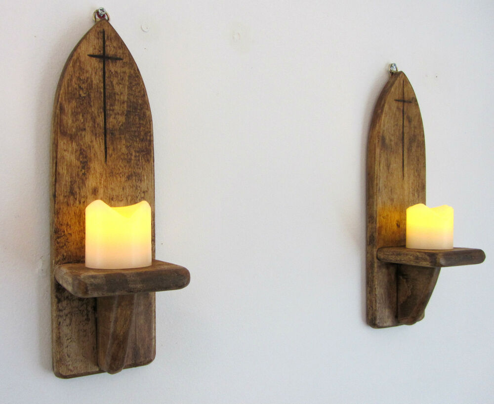 Wooden Wall Sconce Candle Holder : PAIR OF 30CM RECLAIMED WOOD RUSTIC GOTHIC / CHURCH WALL SCONCE CANDLE HOLDERS eBay