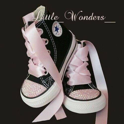 8bb2f1862907 Details about Swarovski Rhinestone Baby Girl Toddler White Converse Shoes