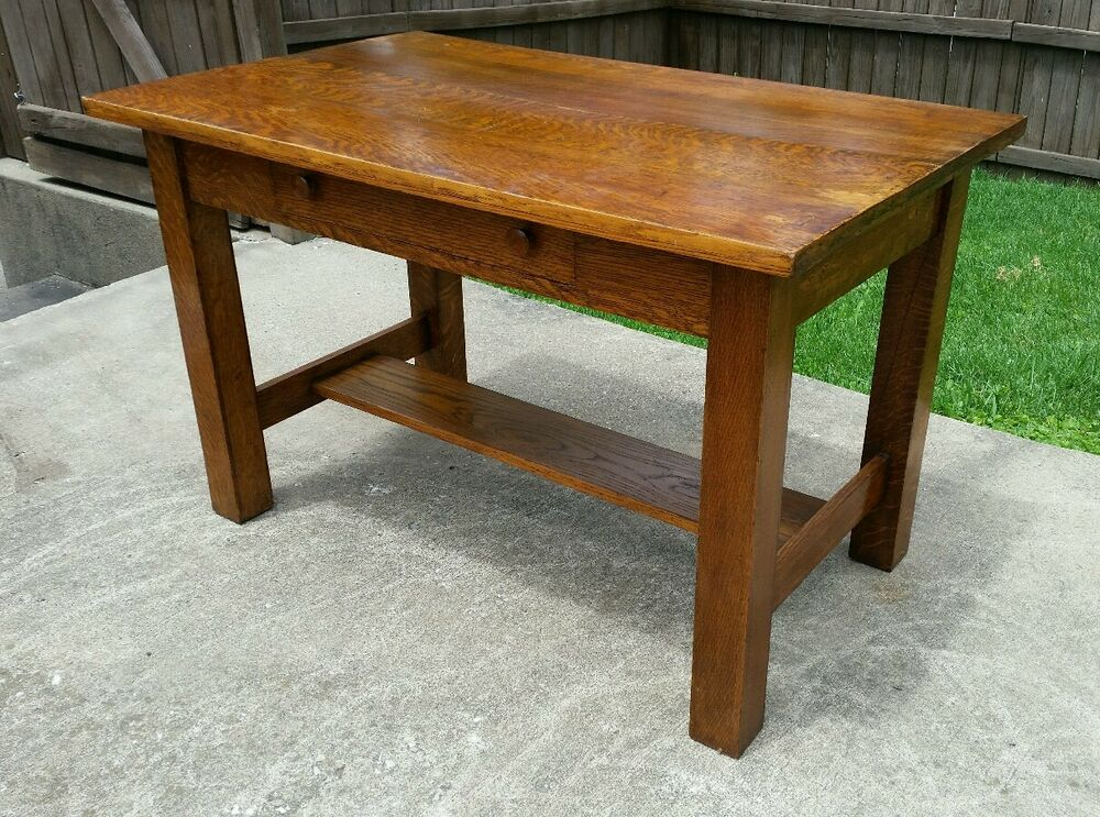 Antique Oak Table ~ Antique vtg tiger oak art deco mission arts and craft