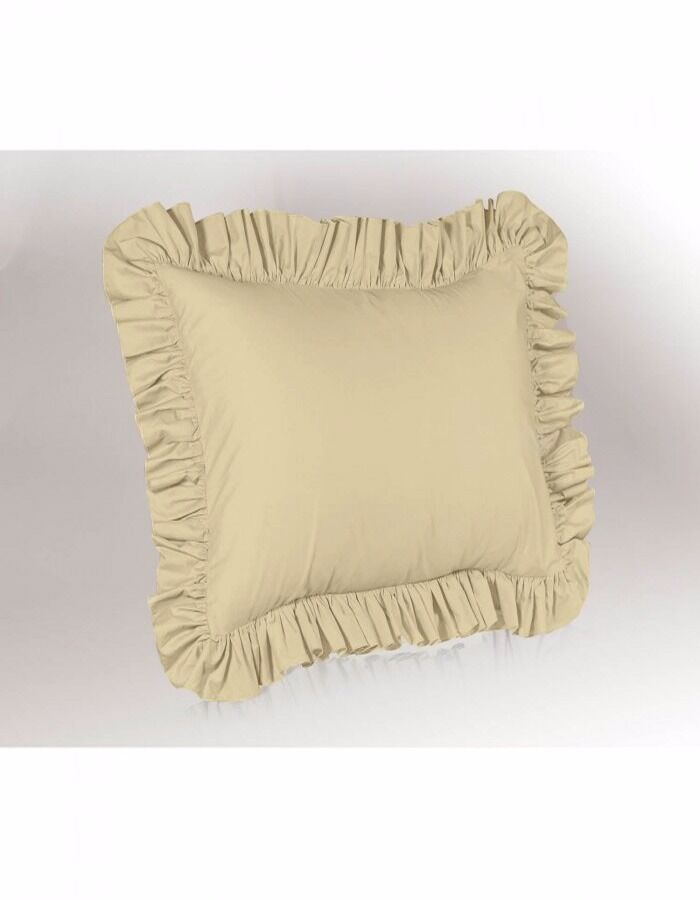 2 Piece Euro Ruffled Shams Solid Beige Cover Case Decorative Pillow 26