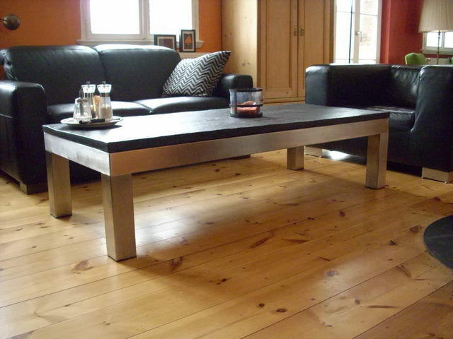 naturstein couchtisch beistelltisch wohnzimmertisch platte schiefer edelstahl ebay. Black Bedroom Furniture Sets. Home Design Ideas