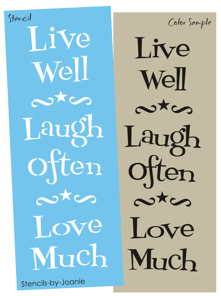 Country Family Stencil Live Well Laugh Often Love Much