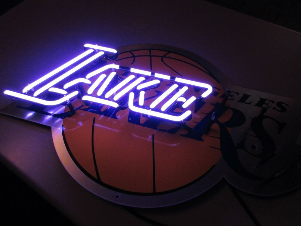 bud light lakers nba lake glass tubing beer neon sign. Black Bedroom Furniture Sets. Home Design Ideas