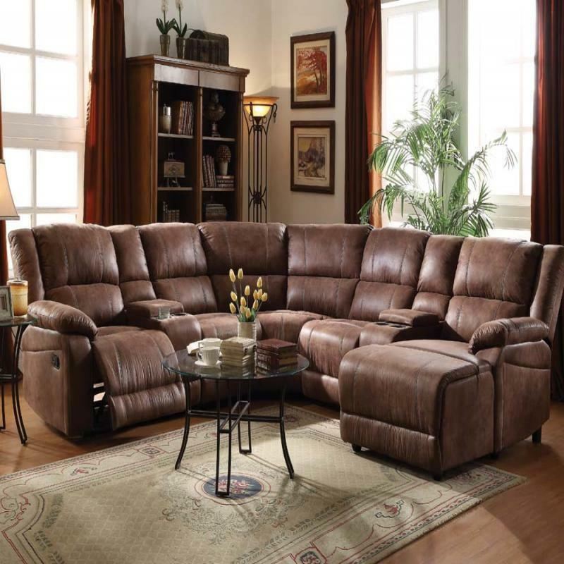 Full Reclining Home Theater Sectional Sofa Set Console Chair Chaise Brown Couch Ebay