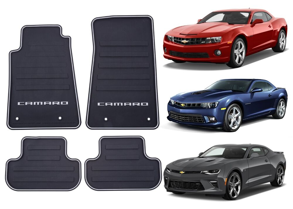 genuine gm 22766717 front rear all weather floor mats for 2010 2016 camaro new ebay. Black Bedroom Furniture Sets. Home Design Ideas