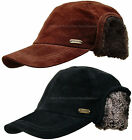 STETSON SUEDE LEATHER WINTER EAR FLAP HAT MEN HUNTING TROOPER BLACK BROWN CAP