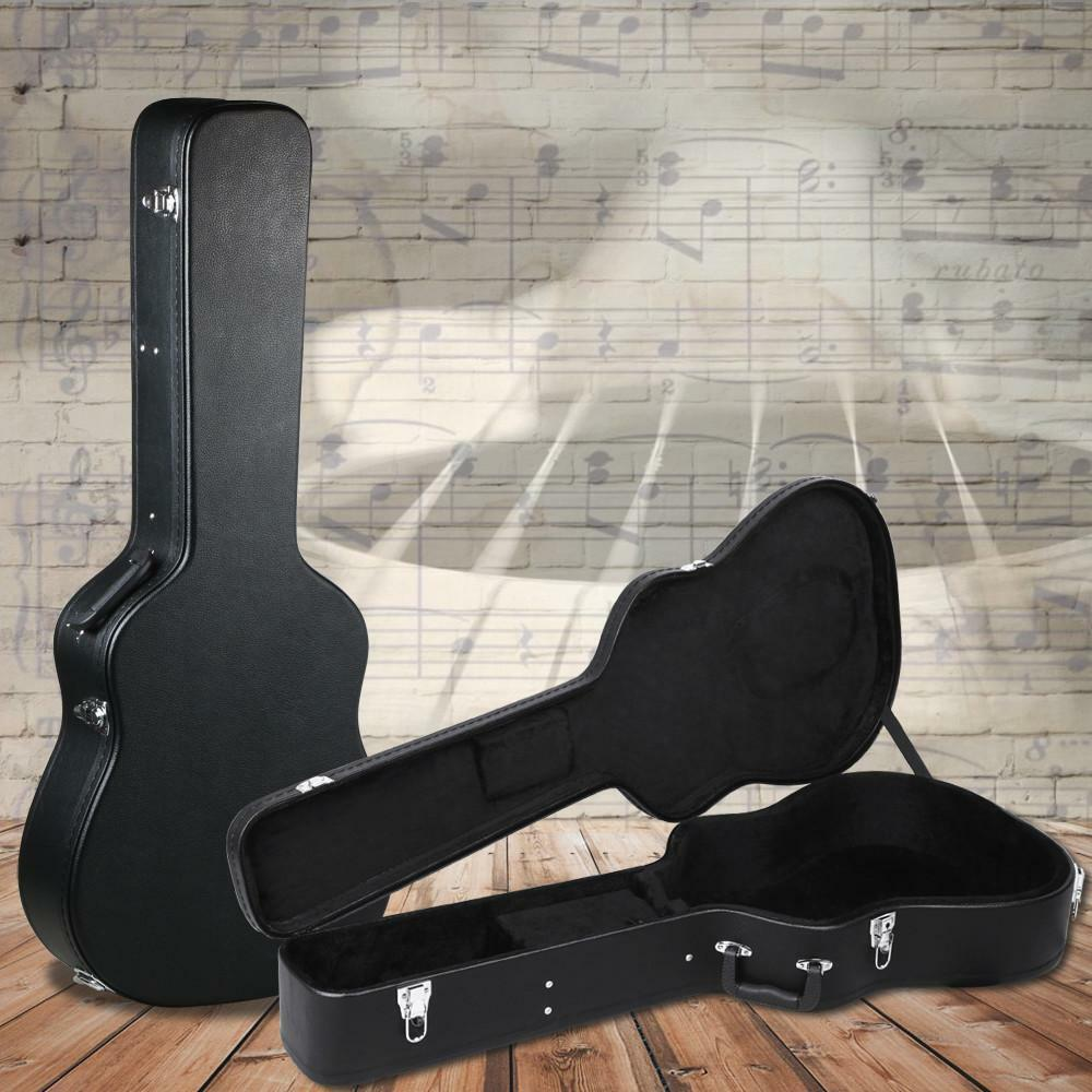 acoustic guitar hardshell carrying case fits most acoustic guitars w lock latch ebay. Black Bedroom Furniture Sets. Home Design Ideas
