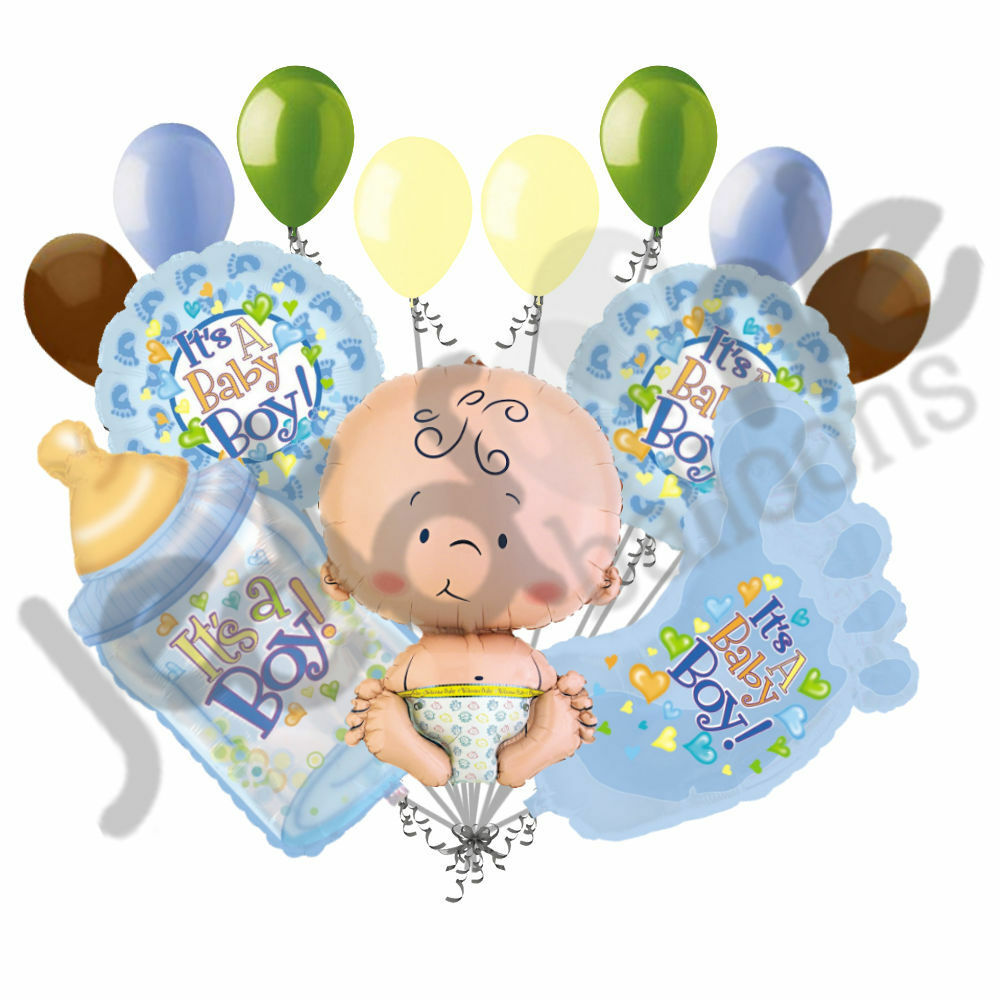 13 Pc Its A Boy Baby Shower Balloon Bouquet Party