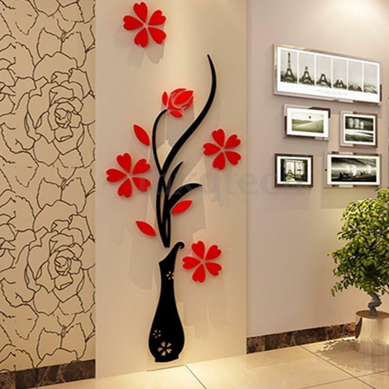 Flower diy mirror 3d beautiful wall decals stickers art for Decoration murale gourmandise