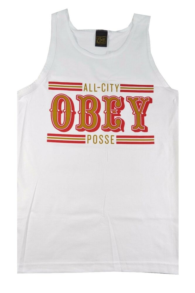 7f5c1be445746 Details about Obey 89 ERS TANK White Red Gold Graphic Logo Cotton Sleeveless  Men s Tank Top