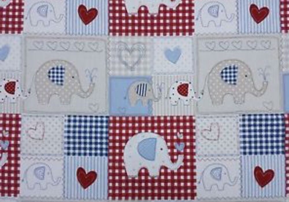Fryetts bo bo blue elephant children 39 s cotton fabric for Kids drapery fabric