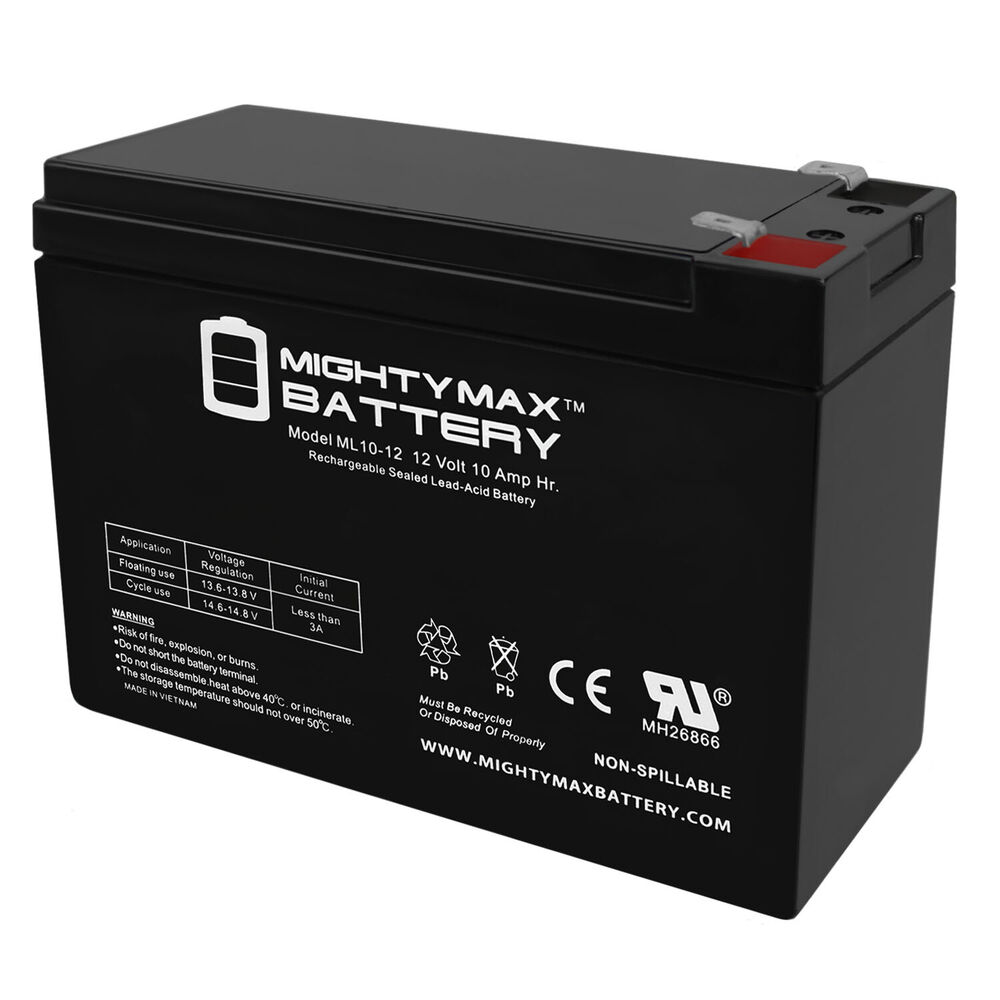 mighty max 12v 10ah battery for lashout 24 volt 400 watt. Black Bedroom Furniture Sets. Home Design Ideas