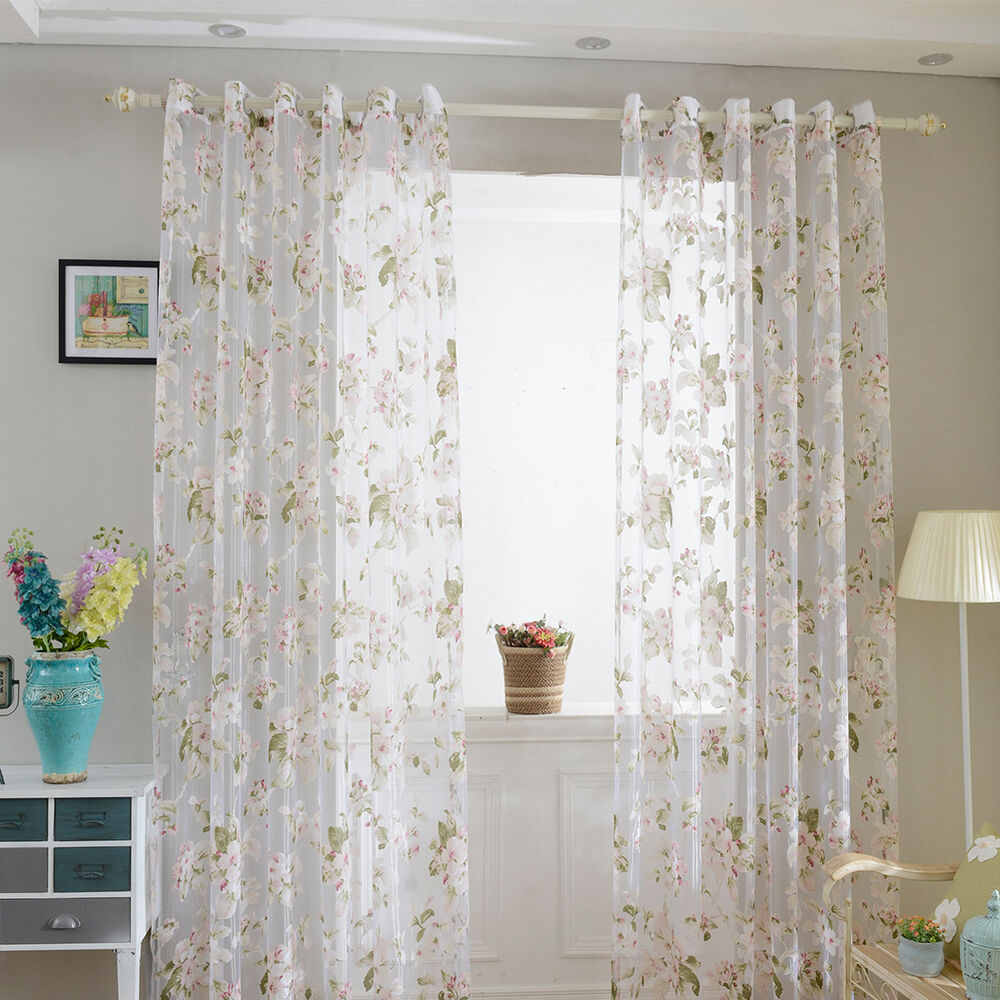 Panels Cream Embroidered Flowers Sheer Curtain