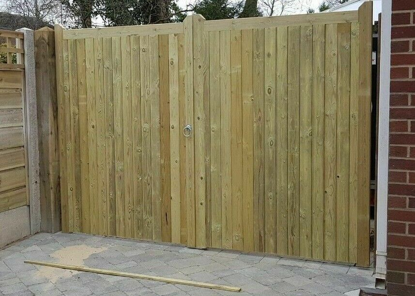 Wooden Tanalised Treated Pair Of Driveway Gate S Ebay