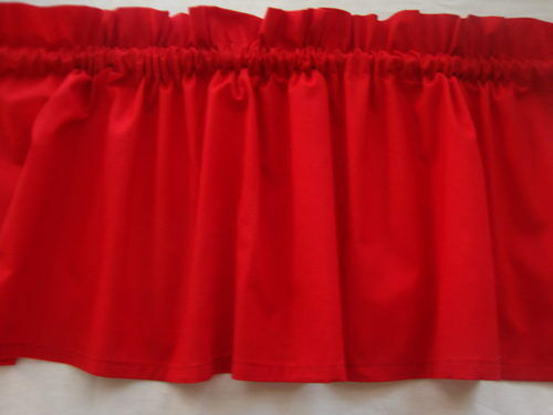 Bright Red Valance Curtain For Kids Room Or Kitchen Window Treatment Topper