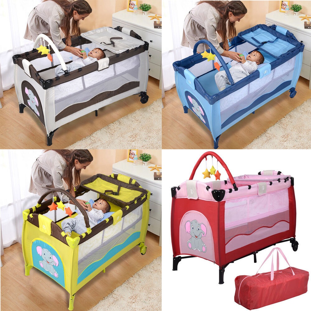 Portable Baby Crib Playpen Playard Pack Travel Infant ...