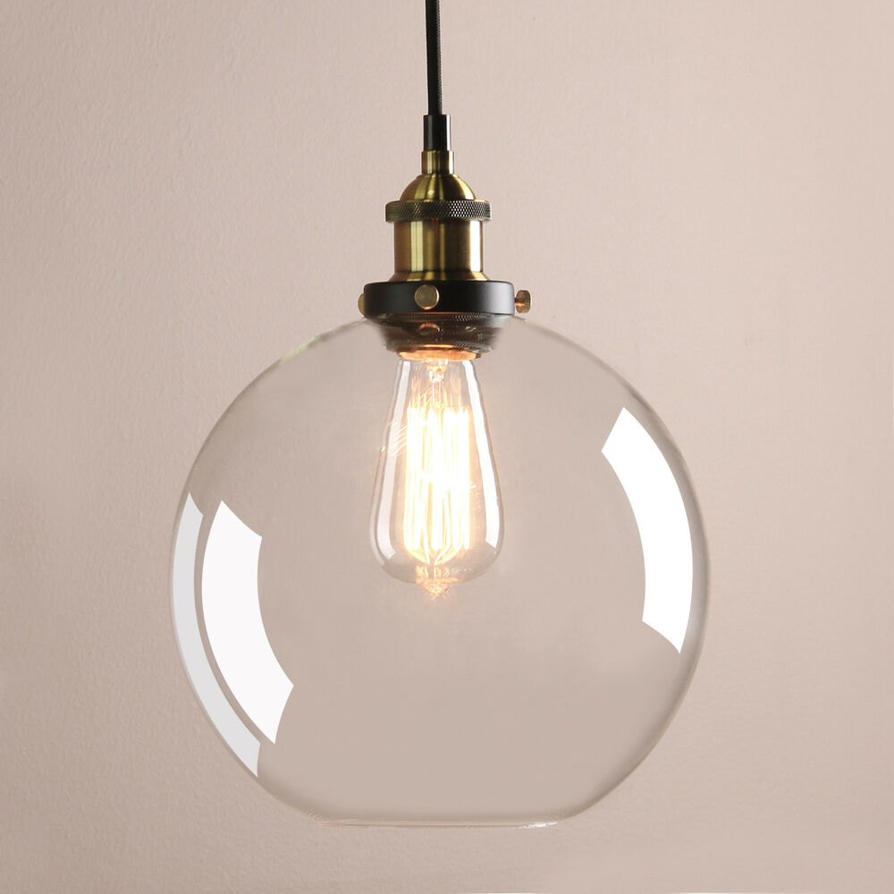 Vintage Industrial Glass Ceiling Pendant Chandelier Light: PERMO NEW Clear Glass Vintage Industrial Ceiling Pendant