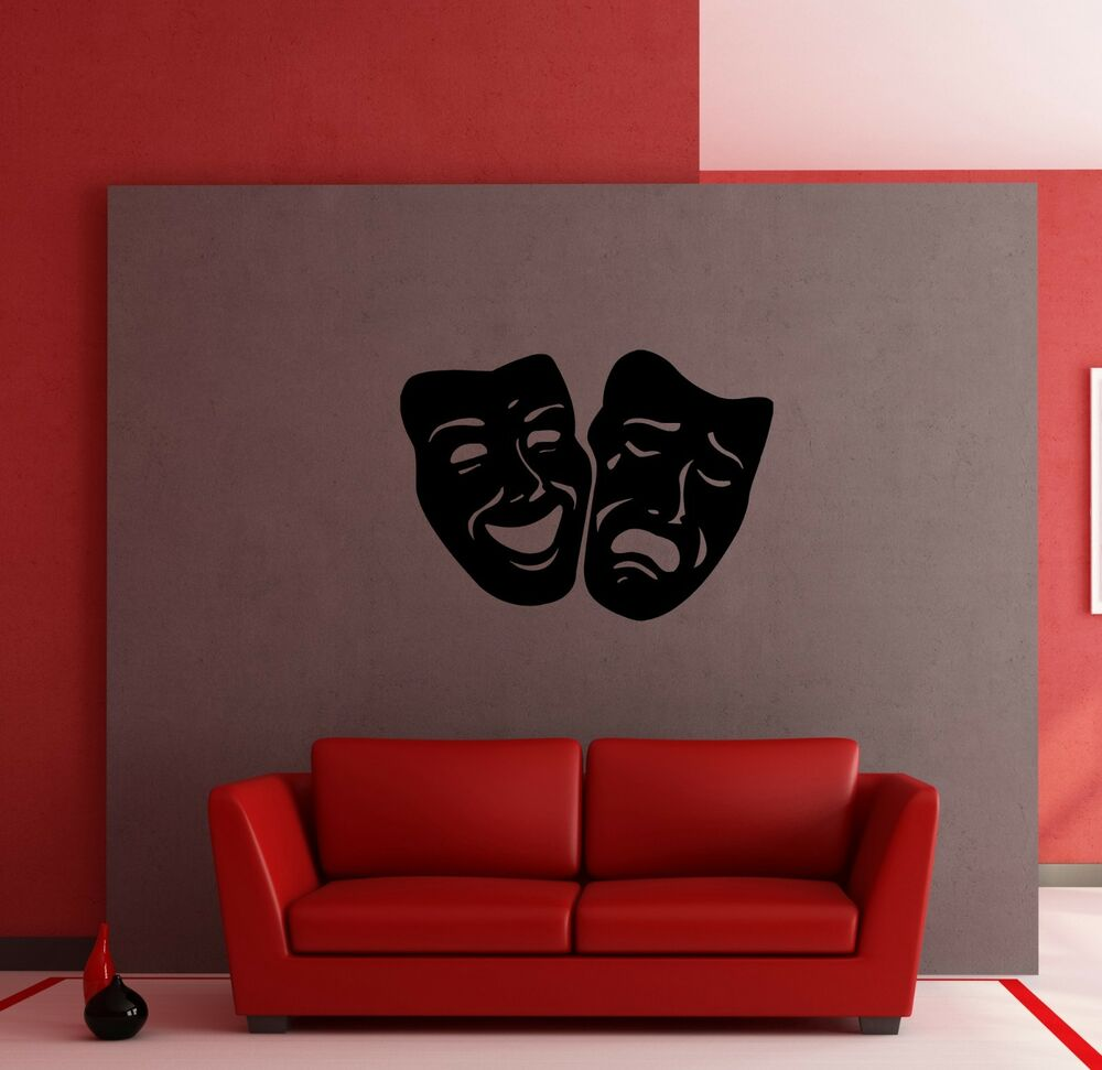 Masks Comedy And Tragedy Theater Decor Wall Mural Vinyl