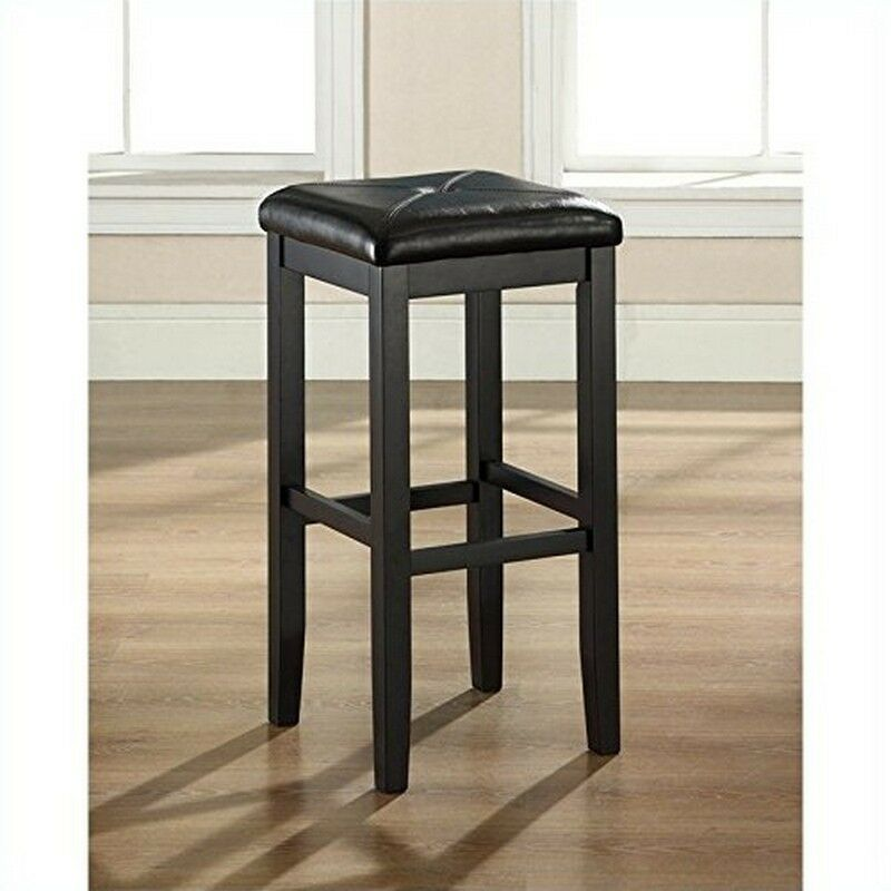 Upholstered Backless Square Bar Stool In Black Finish  : s l1000 from www.ebay.com size 800 x 800 jpeg 61kB