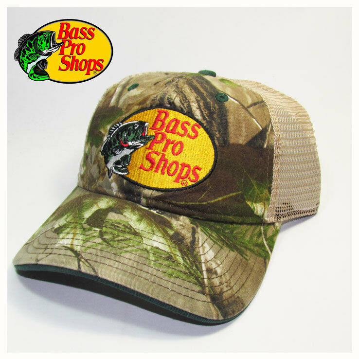 Bass pro shops fishing hunting camo trucker hat cap ebay for Bass pro shop fishing