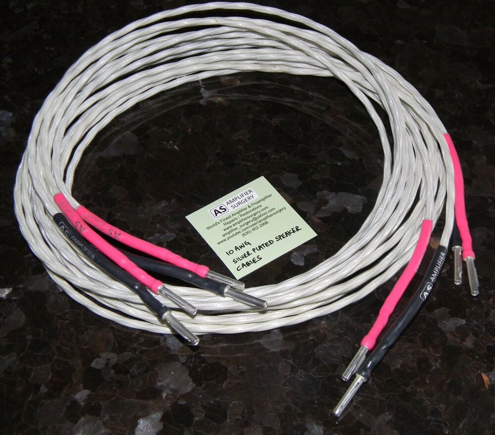 14ft 10 awg audiophile silver plated speaker cables made in usa ebay. Black Bedroom Furniture Sets. Home Design Ideas