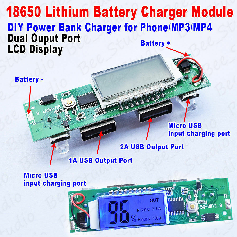 5v Usb Charger Module For 2s 74v Lithium Li Ion Po 18650 Battery Mobile Power Bank Polymer Pcba Circuit Board Diy Dual 1a 2a Lcd All In One Boost