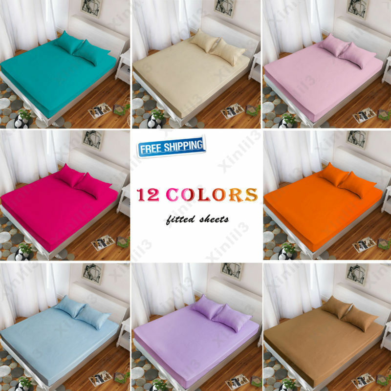 Solid Color Bed Fitted Sheet Twin Full Queen King 100