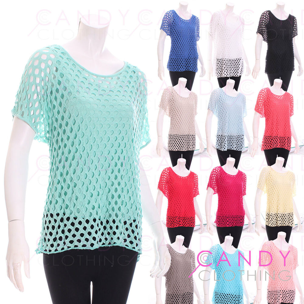 Details about Ladies Crochet Women Netted Top Jersey Stretch Lace Blouse  Floral Netted Vest f1e5c2a47