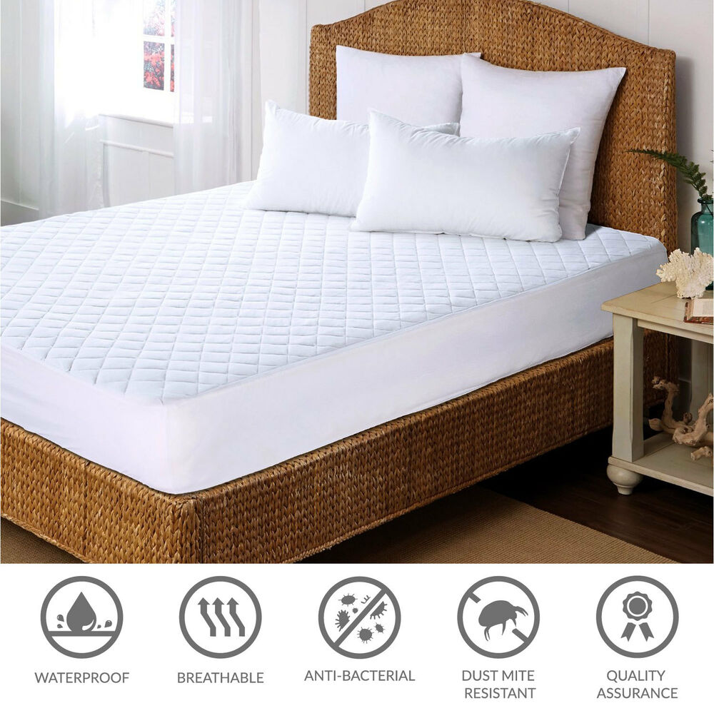 Mattress protector pad cover waterproof bed bug dust mite for Dust mite and bed bug mattress covers