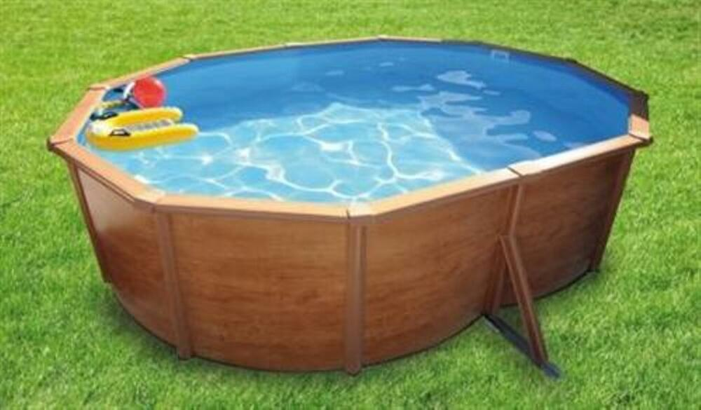 pool oval becken 4 9x3 7x1 2m holzdekor stahlwand schwimmbecken schwimmbad ebay. Black Bedroom Furniture Sets. Home Design Ideas