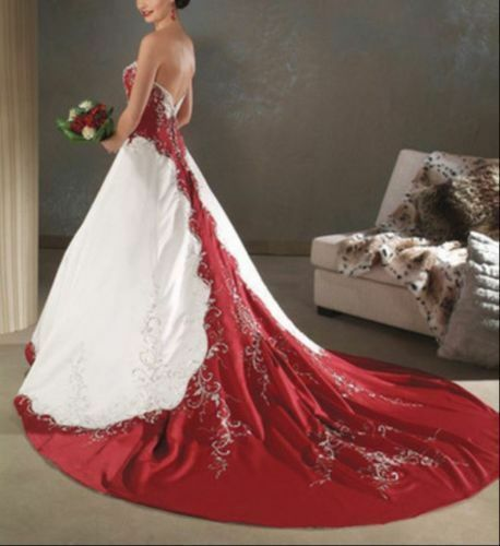 Red and white lvory satin embroidery wedding dress bridal for Wedding dresses size 28