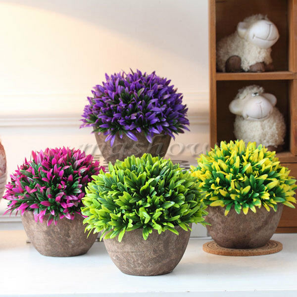 Artificial Grass Flowers Plants In Pot Home House Office ...