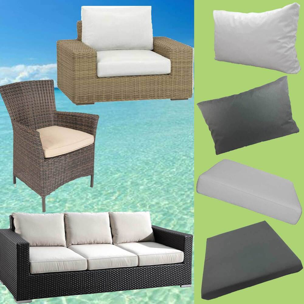 gartenm bel auflagen polster sitzkissen sitzpolster kissen rattan lounge stuhl ebay. Black Bedroom Furniture Sets. Home Design Ideas