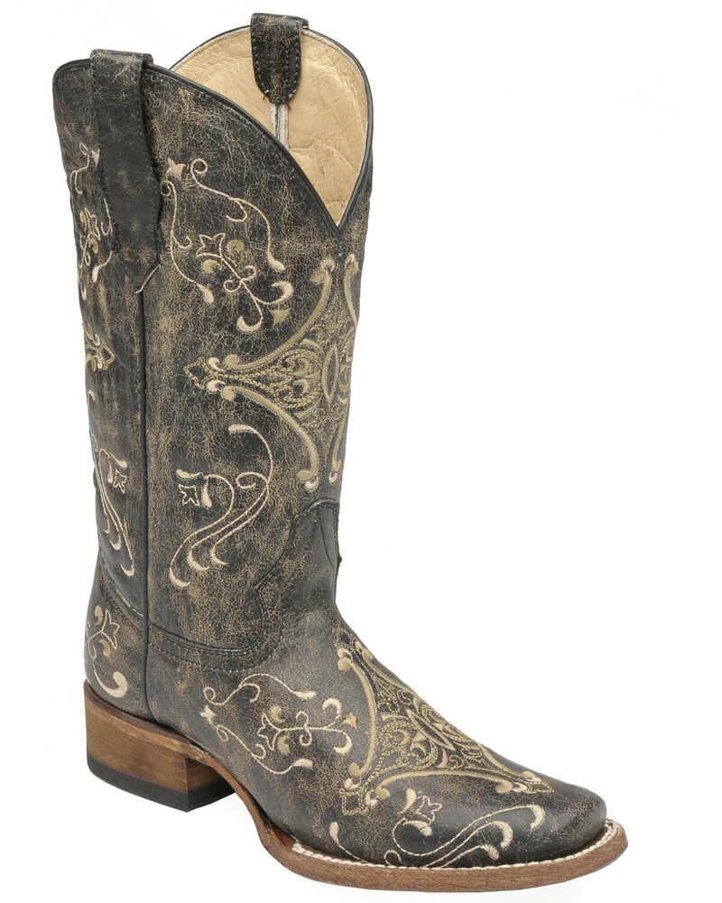 Circle G Women S Diamond Embroidered Cowgirl Boot Square: Corral Women's Circle G Crackle Scroll Bone Embroidered