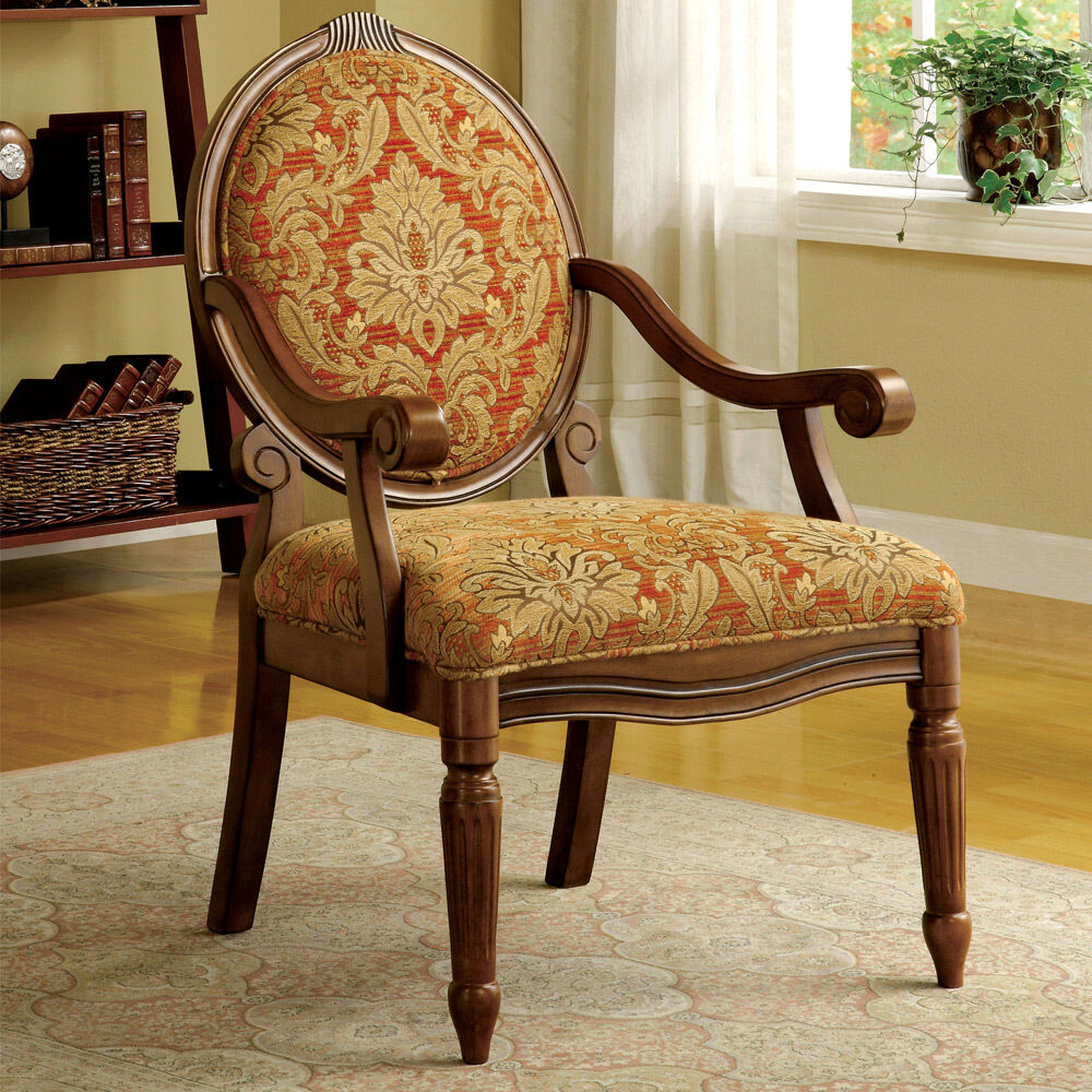 Hammond floral fabric padded seat back accent arm chair