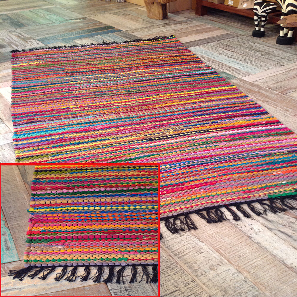 Multicolor Chindi Area Fair Trade Rag Rug Loomed Cotton