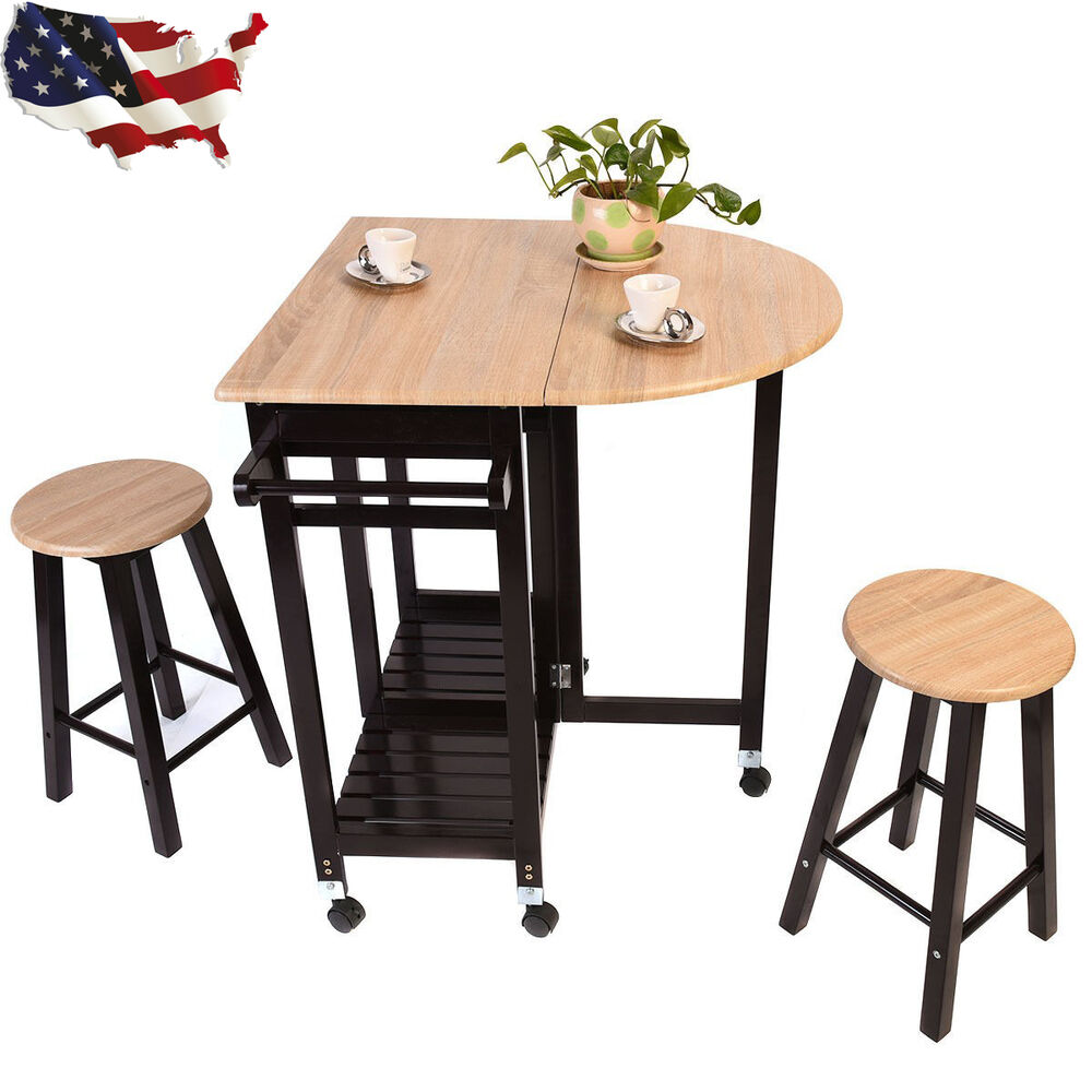 3pcs Kitchen Island Set With Drop Leaf Table 2 Stools Wood
