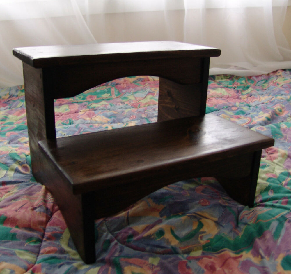 Handcrafted Heavy Duty Step Stool Wooden Bedside Bedroom